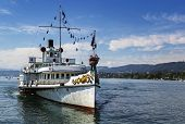 stock photo of zurich  - the ship for cruises on Zurich Lake Switzerland - JPG