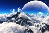 stock photo of moon stars  - Celestial view of snow capped mountains and an alien planet landscape - JPG