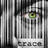 picture of superimpose  - Barcode with the word trace as concept superimposed on a man - JPG