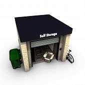 image of self-storage  - illustration of a self storage isolated on white background - JPG