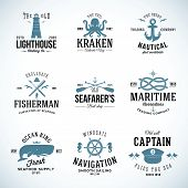 stock photo of steers  - Set of Vintage Nautical Labels and Signs With Retro Typography Anchors Steering Wheel Knots Seagulls and Wale on Isolated Background - JPG