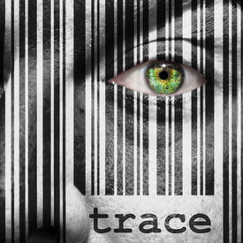 foto of superimpose  - Barcode with the word trace as concept superimposed on a man - JPG
