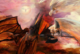 stock photo of underworld  - Angels and demons fight apocalyptic scene art - JPG