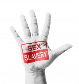 picture of slavery  - Open hand raised Sex Slavery sign painted multi purpose concept  - JPG