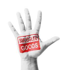 picture of smuggling  - Open hand raised Smuggled Goods sign painted multi purpose concept  - JPG