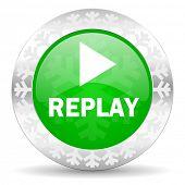 stock photo of christmas song  - replay green icon - JPG