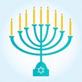 stock photo of menorah  - jewish holiday Hanukkah background with menorah Burning candles isolated on white - JPG