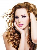 picture of beautiful women  - Young beautiful woman with long curly hairs  - JPG