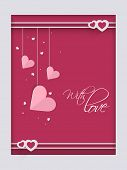 picture of corazon  - Beautiful love greeting card with hanging pink hearts for Valentine - JPG