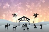 picture of nativity scene  - Nativity scene against pink abstract light spot design - JPG
