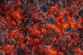 picture of ember  - incandescent orange and red embers texture background - JPG