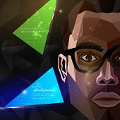 stock photo of african american hair styles  - illustration with an african american man face in polygonal style - JPG
