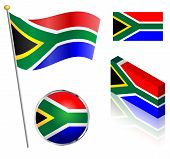 stock photo of south-pole  - South African flag on a pole badge and isometric designs vector illustration - JPG