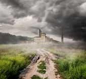picture of thermal  - Thermal station and country road under storm clouds - JPG