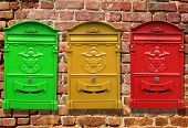 pic of mailbox  - Red mailbox for letters weighs on the wall - JPG