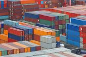 picture of export  - Cargo containers stacks at export container terminal - JPG