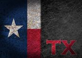 picture of texans  - Old rusty metal sign with a flag and US state abbreviation  - JPG