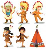 foto of teepee tent  - Illustration of american red indians - JPG