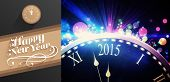 pic of cursive  - Classy new year greeting against black and colour new year graphic - JPG