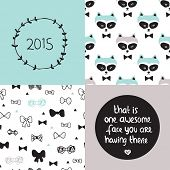 image of you are awesome  - Baby blue poster set and background pattern collection raccoon woodland hipster bow and sweet quote text 2015 design - JPG