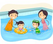 pic of kiddy  - Illustration of a Family Playing in the Swimming Pool - JPG