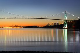 picture of inlet  - Winter twilight in Vancouver with the Lion - JPG