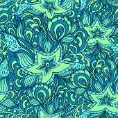 picture of green algae  - Seamless pattern with doodle starfishes and seaweeds in blue green or template for underwater world - JPG
