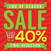 image of year end sale  - Shopping Cart With 40 Percent End of Season Sale Illustration - JPG