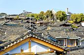 picture of seoul south korea  - Traditional Korean style architecture at Bukchon Hanok Village in Seoul - JPG