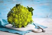 foto of romanesco  - A head of Romanesco broccoli on on chopping board - JPG