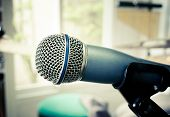 picture of karaoke  - Close up of microphone (microphone, karaoke, music ) ** Note: Soft Focus at 100%, best at smaller sizes - JPG