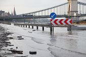 stock photo of flood-lights  - Flooded street n Budapest with traffic sign - JPG