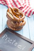 foto of pretzels  - baked pretzels and chalkboard on kitchen table - JPG
