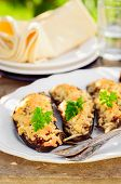 foto of crust  - Meat and Tomato Stuffed Eggplant Halves with Cheese Crust copy space for your text - JPG
