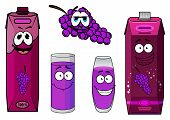 stock photo of violets  - Cute smiling grape juice packs cartoon characters depicting bright violet cardboard containers with screw cups - JPG