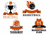pic of trophy  - Basketball club and tournament emblem templates including basketball ball with flame - JPG