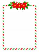 picture of poinsettia  - Retro striped candycane frame with poinsettia flowers on top middle isolated on white - JPG