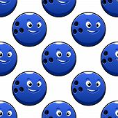 stock photo of bowling ball  - Bowling game seamless pattern with cartoon happy bright blue bowling ball characters on white background for textile or wrapping design - JPG