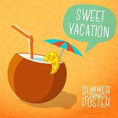 picture of pina-colada  - Cute summer poster  - JPG