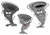 stock photo of tease  - Cartoon dark gray tornado and cyclone characters with angry faces and funny teasing for weather concept or mascot design - JPG