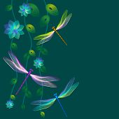 foto of dragonflies  - Card with dragonflies and blue flowers on dark green background - JPG