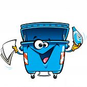 picture of reuse  - Happy cartoon smiling recycle garbage bin character - JPG