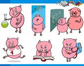 picture of piglet  - Cartoon Illustration of Piglet Animal Character School Student Set - JPG