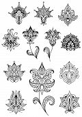 image of embellish  - Paisley outline flowers with sagittate petals and curved leaves decorated with traditional indian ornaments for lace embellishment or vintage design - JPG