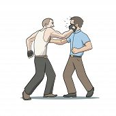 pic of character traits  - This is an illustration of fighting men - JPG