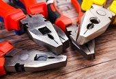 image of pliers  - Close up Assorted Hand Work Tool Pliers  - JPG
