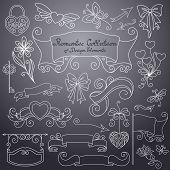 picture of bow arrow  - Vector Romantic Collection of Hand Drawn Design Elements - JPG
