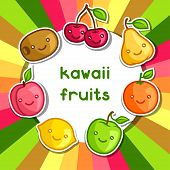 stock photo of kawaii  - Background with cute kawaii smiling fruits stickers - JPG
