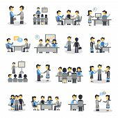 stock photo of cartoon people  - Meeting icons flat set with business people project teamwork symbols isolated vector illustration - JPG