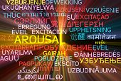 picture of aroused  - Background concept wordcloud multilanguage international many language illustration of arousal glowing light - JPG